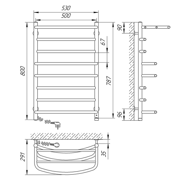Схема - Полотенцесушитель SUNLINE Евромикс SL П8 500 х 800 с полкой Электро (подкл. слева)