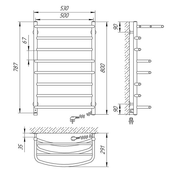 Схема - Полотенцесушитель SUNLINE Евромикс SL П8 500 х 800 с полкой Электро (подкл. справа)