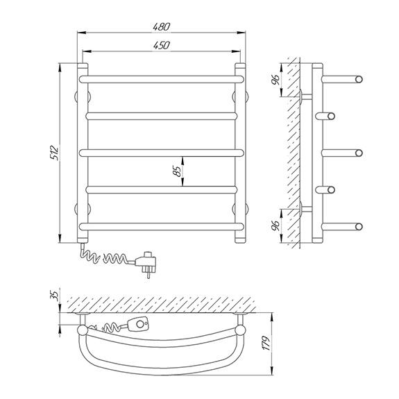 Схема - Полотенцесушитель SUNLINE Евромикс SL П5 450 х 500 Электро (подкл. слева)