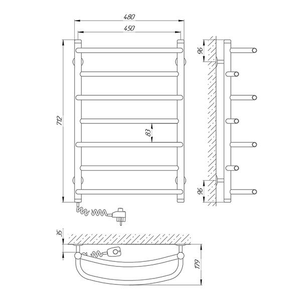 Схема - Полотенцесушитель SUNLINE Евромикс SL П7 450 х 700 Электро (подкл. слева)