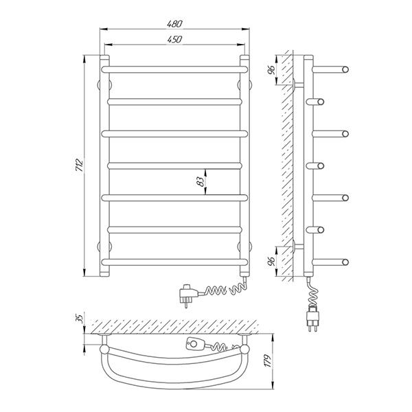 Схема - Полотенцесушитель SUNLINE Евромикс SL П7 450 х 700 Электро (подкл. справа)