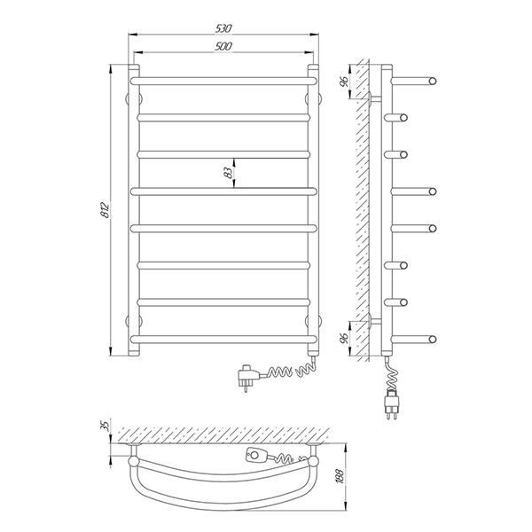 Схема - Полотенцесушитель SUNLINE Евромикс SL П8 500 х 800 Электро (подкл. справа)