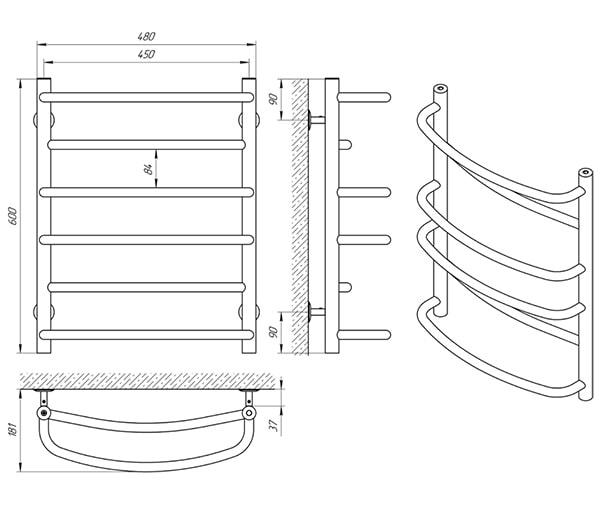 Схема - Полотенцесушитель SANLINE Евромикс SL П6 450 х 600