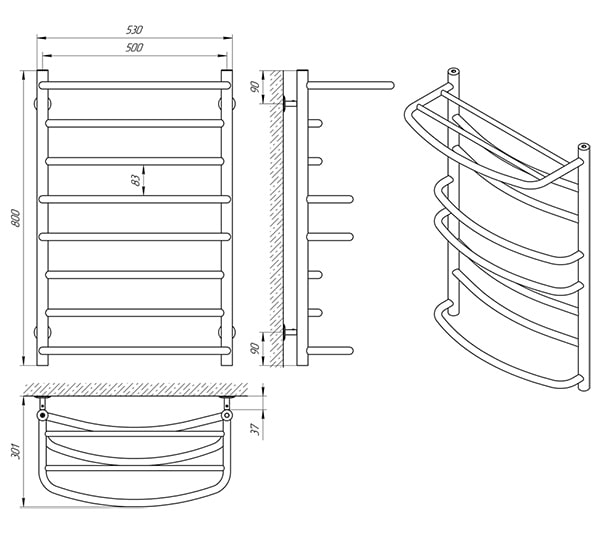 Схема - Полотенцесушитель SANLINE Евромикс SL П8 500 х 800 с полкой