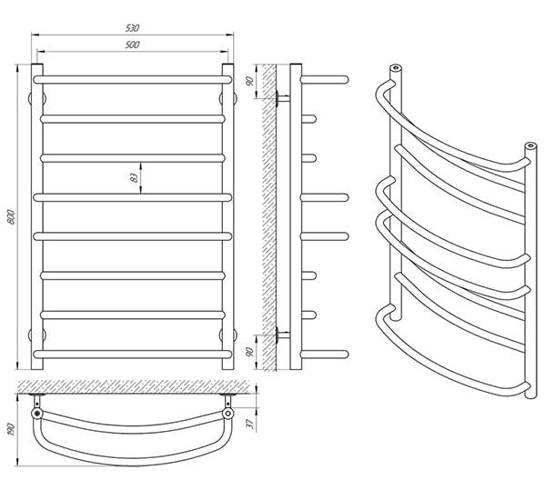 Схема - Полотенцесушитель SANLINE Евромикс SL П8 500 х 800