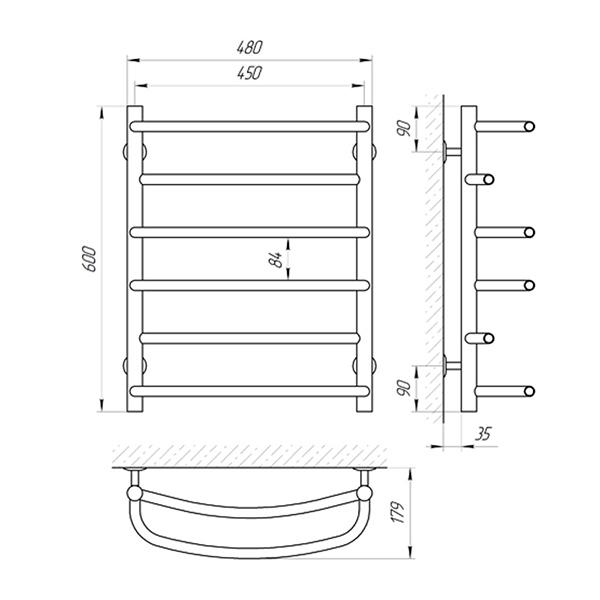 Схема - Рушникосушарка LARIS Євромікс SL П6 450 х 600