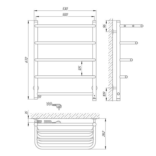 Схема - Рушникосушарка LARIS Стандарт ЧФ5 500 х 660 з полицею Електро (підкл. зліва)
