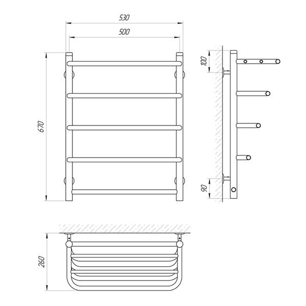 Схема - Рушникосушарка SUNLINE Стандарт SL П5 500 х 660 з полицею