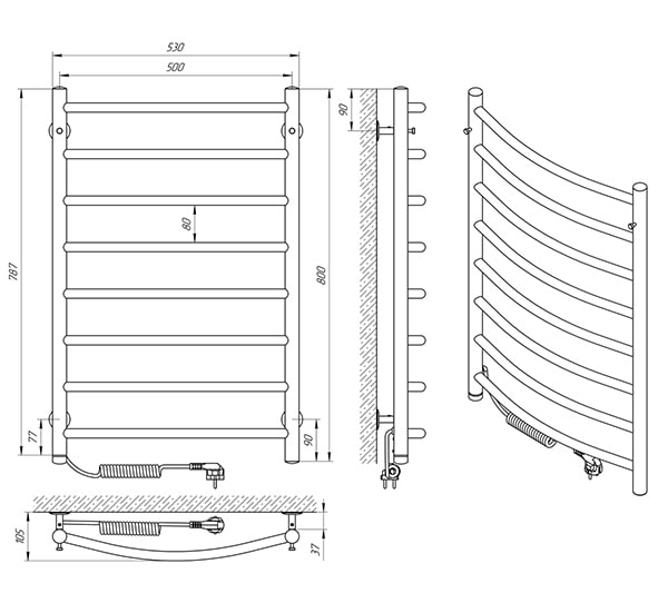 Схема - Рушникосушарка LARIS Класік ЧФ8 500 х 800 Електро (підкл. зліва)