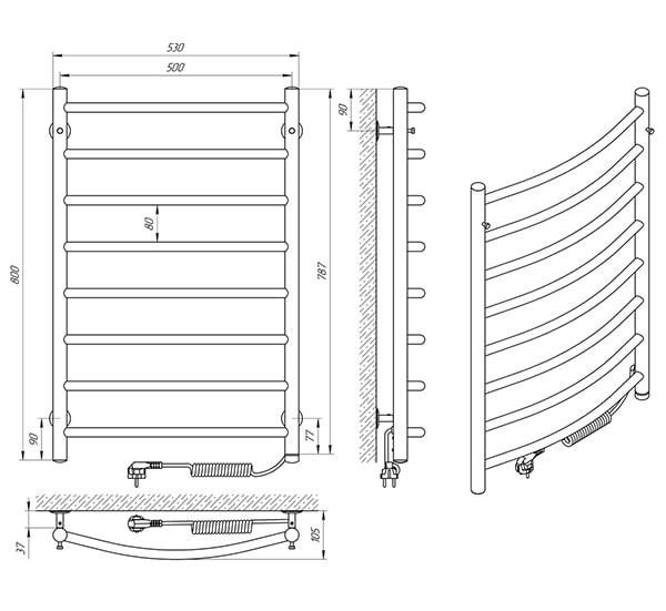 Схема - Рушникосушарка SUNLINE Класік SL ЧФ8 500 х 800 Електро (підкл. справа)