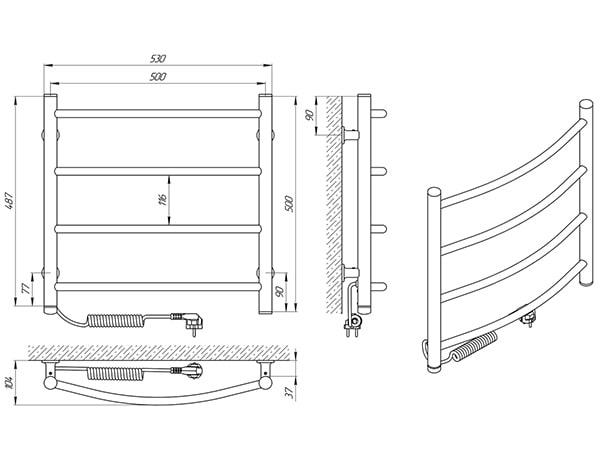 Схема - Полотенцесушитель SANLINE Зебра Классик SL ЧК4 500 х 500 Электро (подкл. слева)