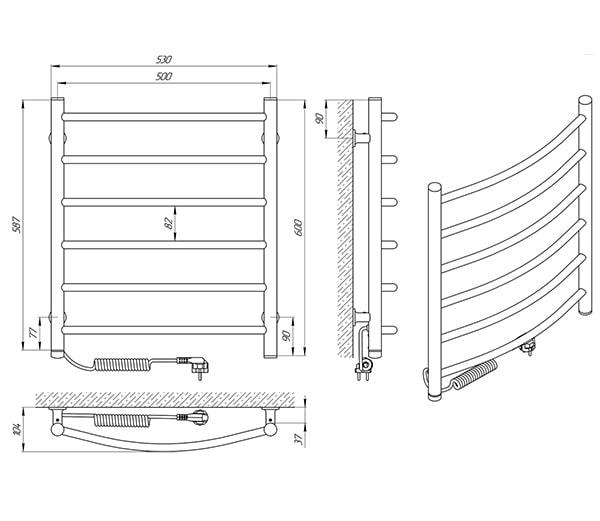 Схема - Рушникосушарка SANLINE Зебра Класік SL ЧФ6 500 х 600 Електро (підкл. зліва)