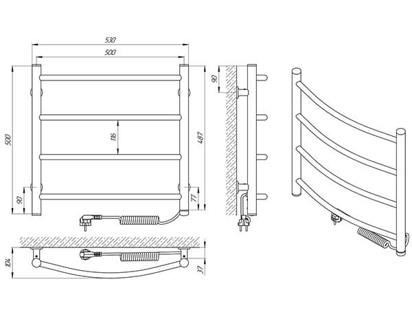 Схема - Рушникосушарка SANLINE Зебра Класік SL ЧФ4 500 х 500 Електро (підкл. справа)