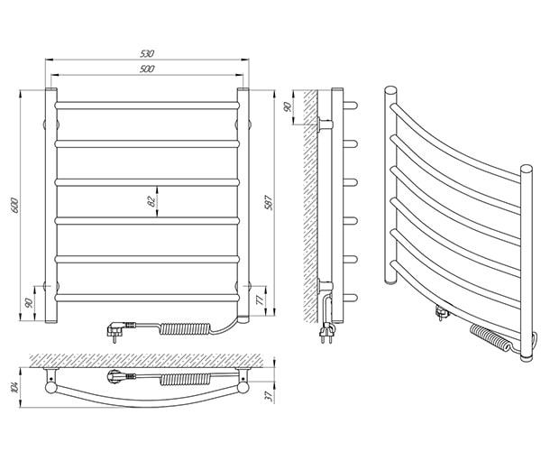 Схема - Полотенцесушитель LARIS Зебра Классик ЧК6 500 х 600 Электро (подкл. справа)
