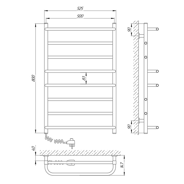 Схема - Полотенцесушитель LARIS Комфорт ЧК8 500 х 800 Электро (подкл. слева)