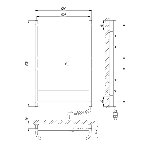 Схема - Полотенцесушитель LARIS Комфорт ЧК8 500 х 800 Электро (подкл. справа)