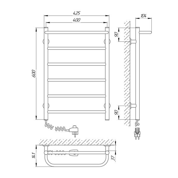 Схема - Полотенцесушитель LARIS Прайм ЧК6 400 х 600 Электро (подкл. слева)