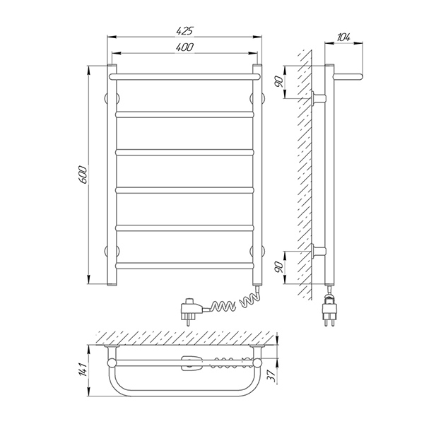 Схема - Полотенцесушитель LARIS Прайм ЧК6 400 х 600 Электро (подкл. справа)