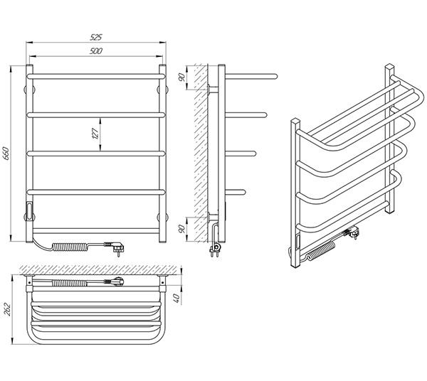 Схема - Полотенцесушитель SANLINE Зебра Стандарт SL ЧК5 500 х 660 с полкой Электро (подкл. слева)