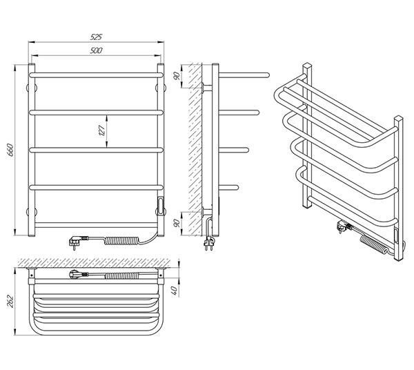 Схема - Полотенцесушитель SANLINE Зебра Стандарт SL ЧК5 500 х 660 с полкой Электро (подкл. справа)